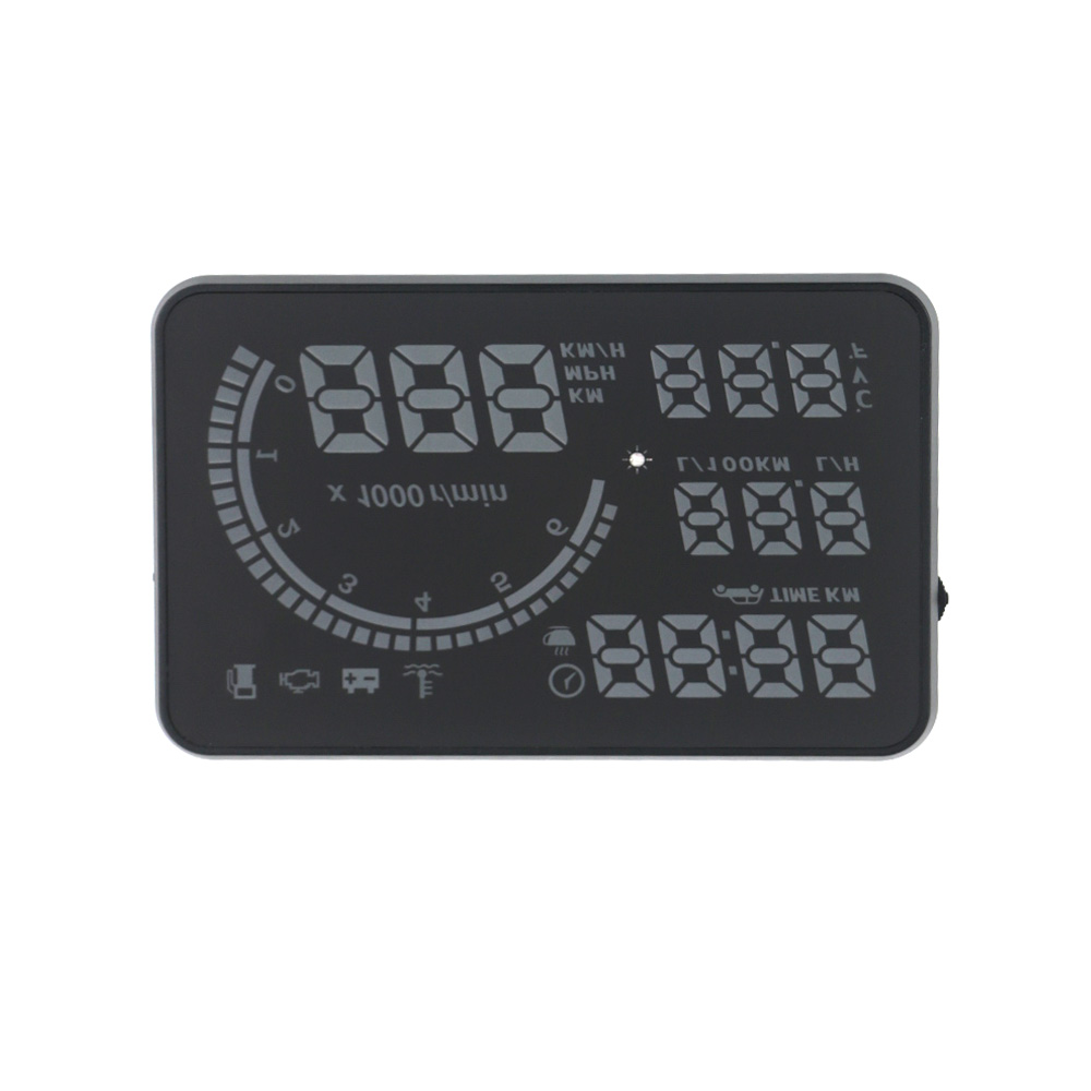EANOP 5.5X HUD Headup Display Car Speed Projector Dashboard Windshield Projector Head OBD2 fuel Overspeed KM/H,RPM Clock 13