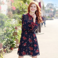 Fashion Print Floral Women Chiffon Dress Spring Autumn High Quality Long Sleeve Turn Down Collar Elastic