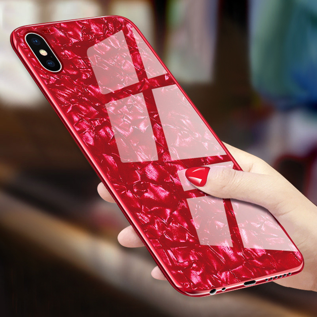 FULCOL Luxury Tempered Glass Case For iPhone X Hard Back Shell Conch Soft TPU Bumper Phone Case For iPhone 8 Plus 7 6 6SPlus