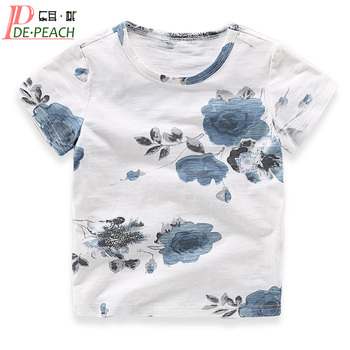 DE PEACH 2017 Summer Baby Boys Flower Printed T Shirt Boy Kids Cotton Short Sleeve Tops Tees Girls T-shirt Children Clothing