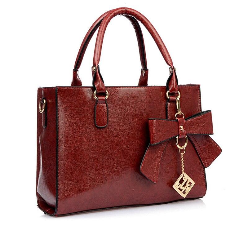 ФОТО Korean Leather Handbags Women Cute Bow Totes Female Wine Red Fashion Shoulder Bags Retro Crossbody Bags