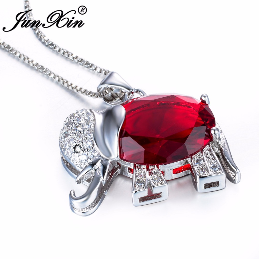 45f7cf94cd JUNXIN Women Red Elephant Necklace New Fashion Animal Jewelry 925 Sterling  Silver Filled Wedding Necklaces Pendants Gifts-in Pendant Necklaces from  Jewelry ...