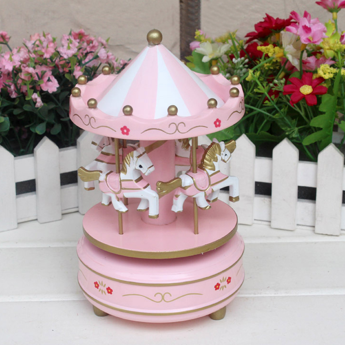 Cute Merry Go Round Musical carousel horse wooden carousel music box toy child game Home Decor Christmas Wedding Birthday Gift