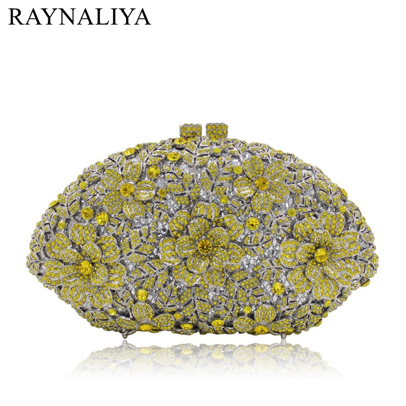 Bridal Wedding Flower Clutch Crystal Bags Metal Gold Women Evening Clutches Party Cocktail Dinner Minaudiere Bag SMYZH E0328