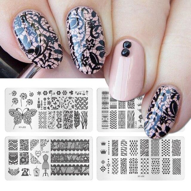 Uñas arte imagen estampado placas flores encaje mariposa esmalte de uñas plantilla accesorios transferencia pintura plantilla herramienta XYJ01-16