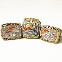 3pcs Set 2016 Hot Sale 1997 1998 2015 Denver Broncos Super Bowl Championship Rings Replica Size