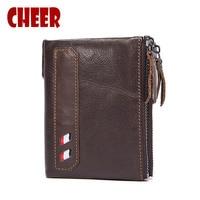 Mens Wallet Leather Genuine Crazy Horse Purse Brand Men Wallets Wallet Card Holder Luxury Designer Clutch
