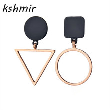 Accessories wholesale asymmetric geometry color matching earrings eardrop exaggerated Ms popular black