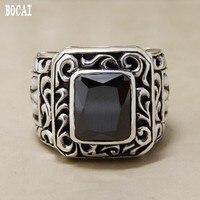 Ретро Суд могучий кольцо из стерлингового серебра 925 один квадратный черный агат трава узор резные мужские кольца