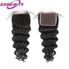 Addbeauty Brailian естественная волна Волосы Remy 4×4 Синтетические волосы на кружеве предварительно сорвал с для волос Salon