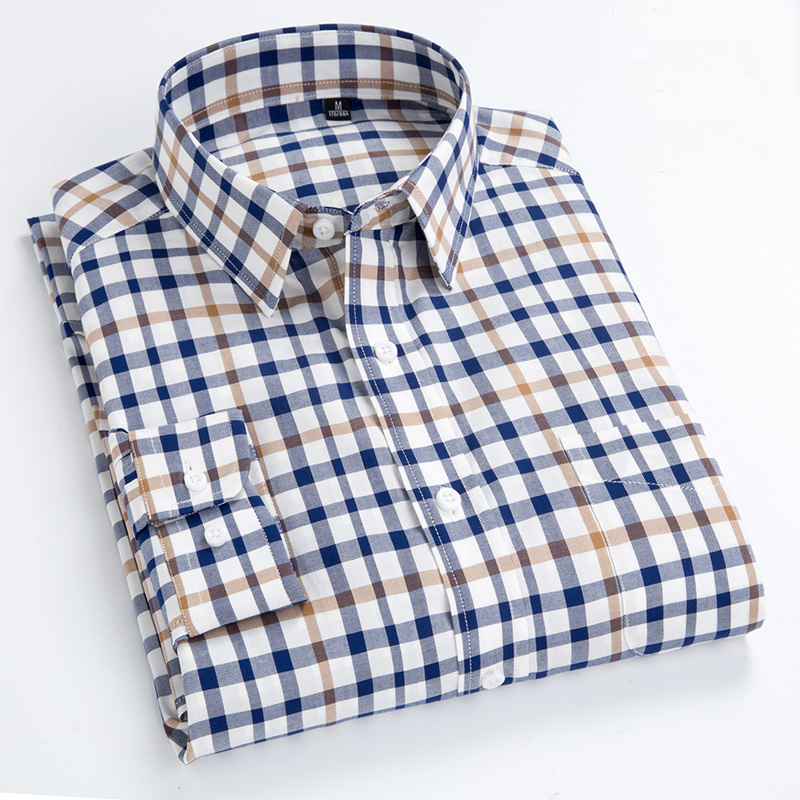 Spring Summer New Men's Shirts Men's Long Sleeves Small Plaid Shirts High Quality 100% Cotton Casual Shirt Fashion Colther