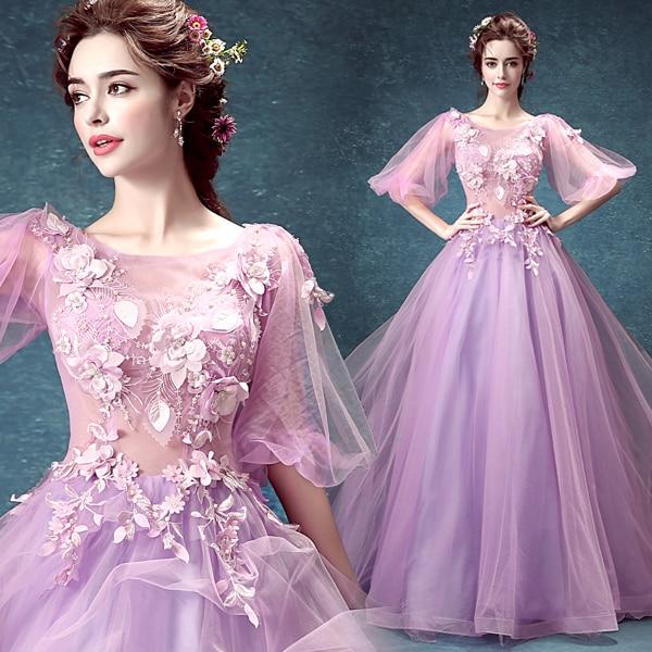 0ae1d2a6d7 US $118.0 |light purple flower beading veil gown long medieval dress  Renaissance cosplay Victoria dress Gothic /Marie Antoinette/Belle ball on  ...