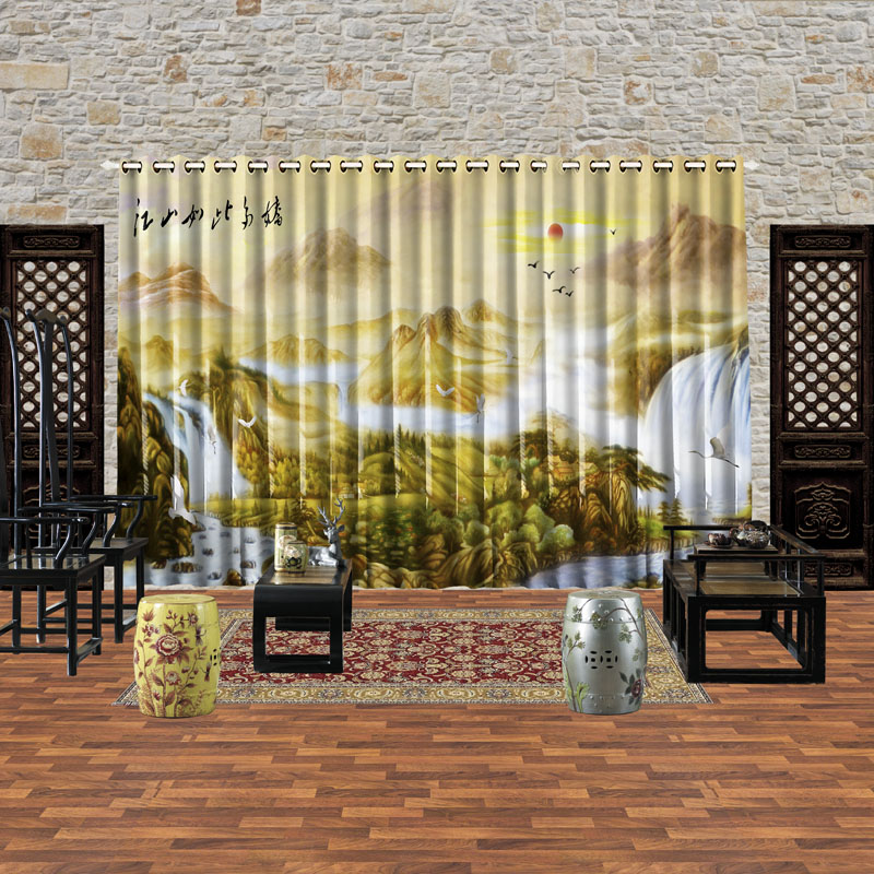 print blackout soundproof window curtain for living room bedroom
