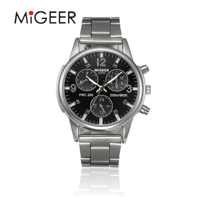 MIGEER Luxury Brand Men Quartz Casual Watch Army Military Sports Watch Men Watches Male Crystal Stainless Steel Clock #Gofuly418-in Quartz Watches from Watches on Aliexpress.com | Alibaba Group