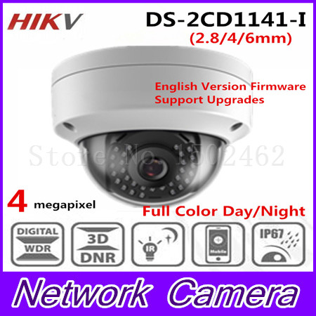 Free shipping New Arrival HiK 4.0 MP CMOS Network Dome Camera DS-2CD1141-I replace DS-2CD2145F-IS Fixed Lens IP Camera free shipping in stock new arrival english version ds 2cd2142fwd iws 4mp wdr fixed dome with wifi network camera