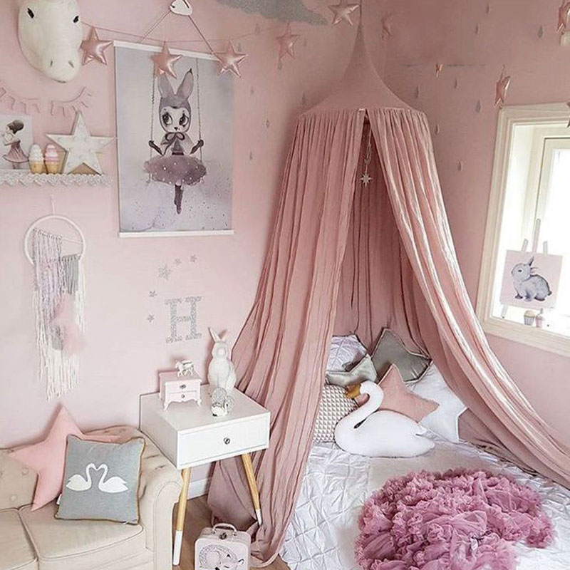 Cute Nordic style Girl Bedding Round Dome Bed Canopy Cotton Linen Mosquito Net Curtain for Baby Room Decor