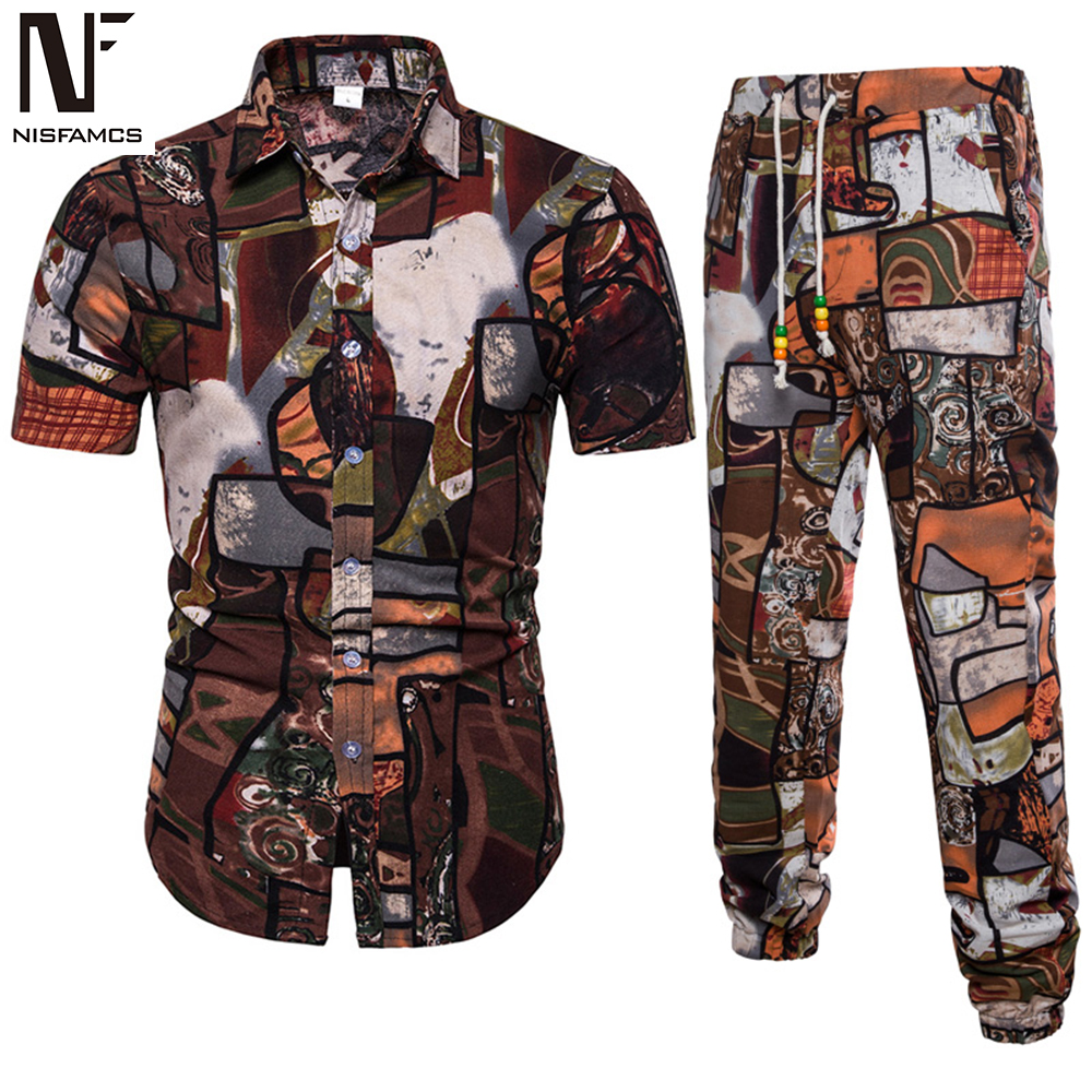 Summer Beach Tracksuit Suit Men Vintage Floral Print Set Casual Vacation Mens Hip Hop Streetwear 2020 Plus Size Shirts Long Pant