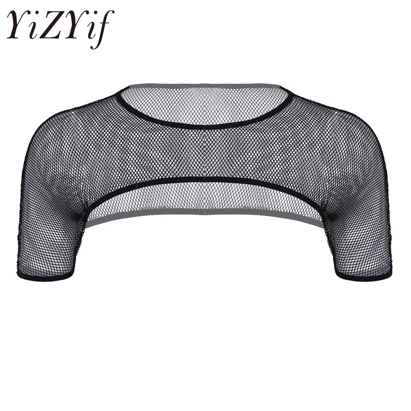 YiZYiF Sexy Cute Mens Mesh See Through Fishnet Short Sleeve Shoulder Chest Muscle Half   Tank     Top   Party Clubwear Costume Crop   Top