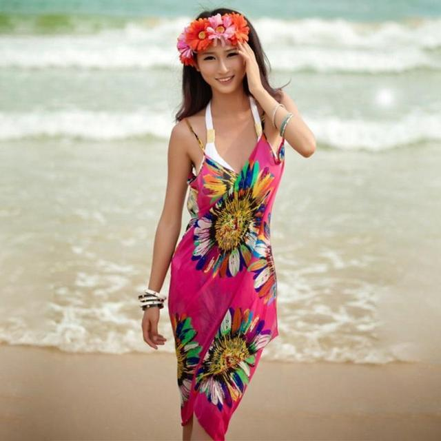 Sexy Swimwear Beach Cover Up Bikini Dress 2017 Summer Women Retro Floral Chiffon Bikini Cover Up Leisure Dress