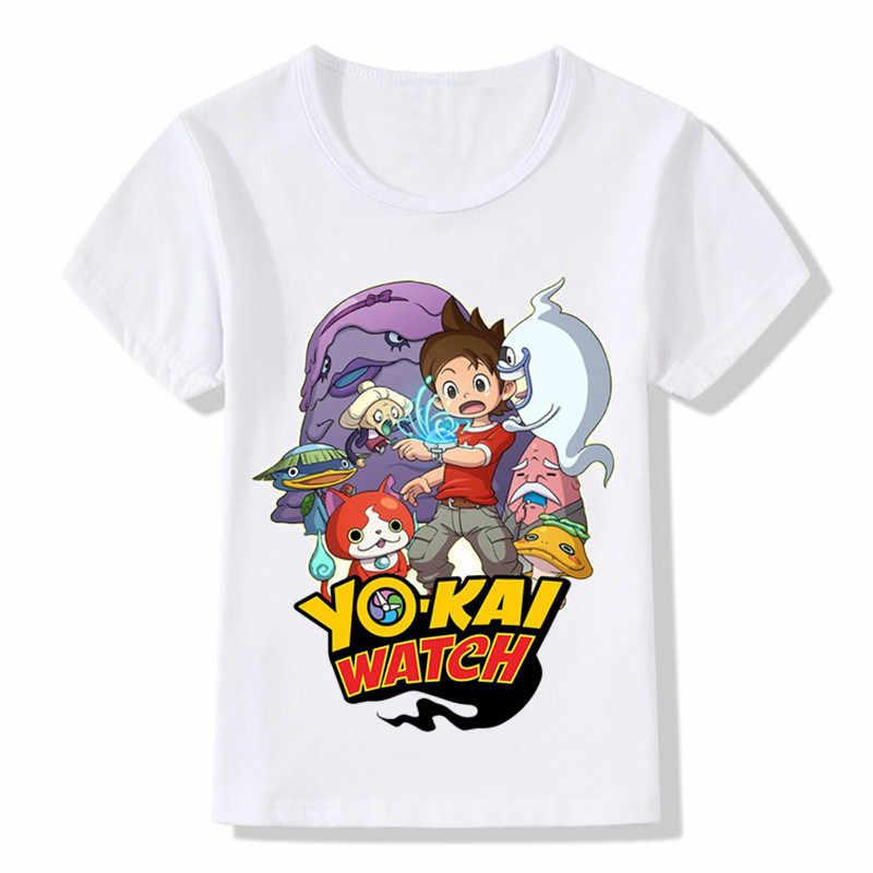 ילדי יו קאי שעון קריקטורה עיצוב מצחיק חולצות בני בנות חולצות שרוול קצר Tees ילדים בגדים מזדמנים פעוט, ooo5137