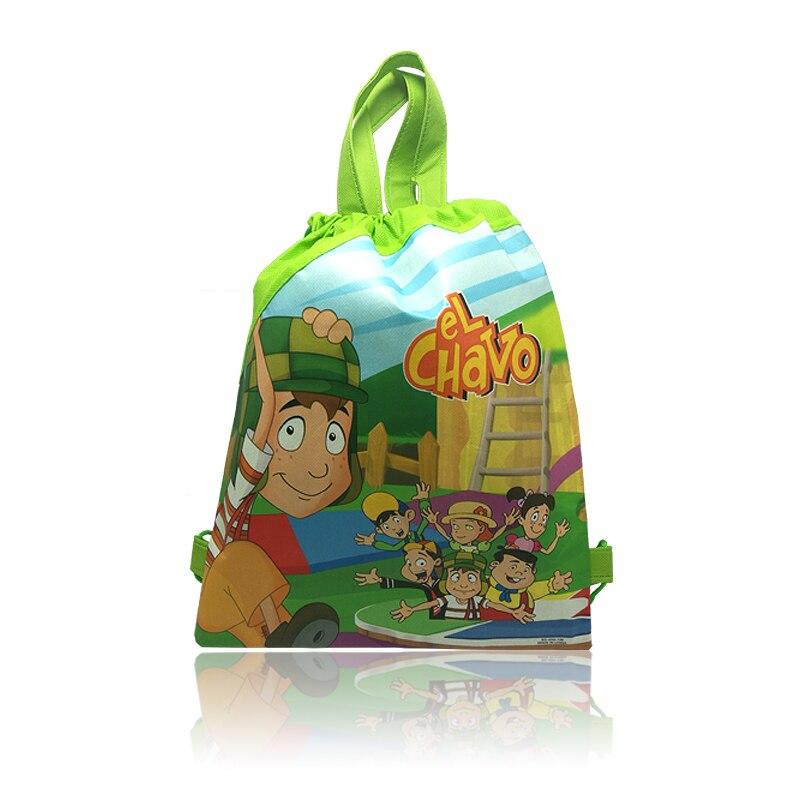 1pcs Drawstring Backpacks Bags 34*27CM Cartoon El Chavo Children Non Woven Fabrics Home Storage School Shopping