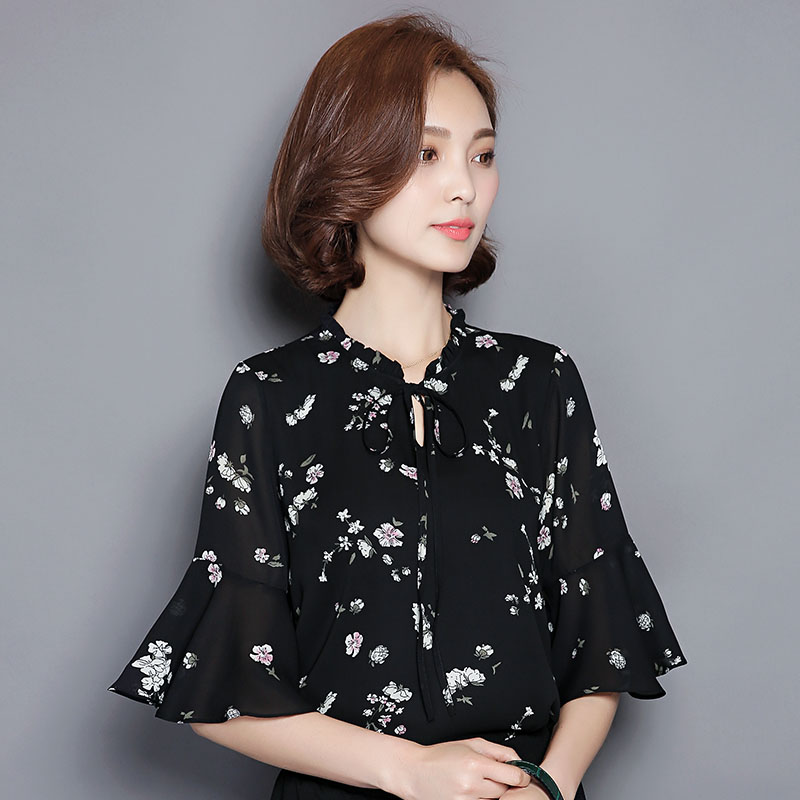New Women Casual 2017 Summer Printed Chiffon Blouse Top Shirt Patchwork Floral Bowknot Short sleeve OL Hollow out Large Size