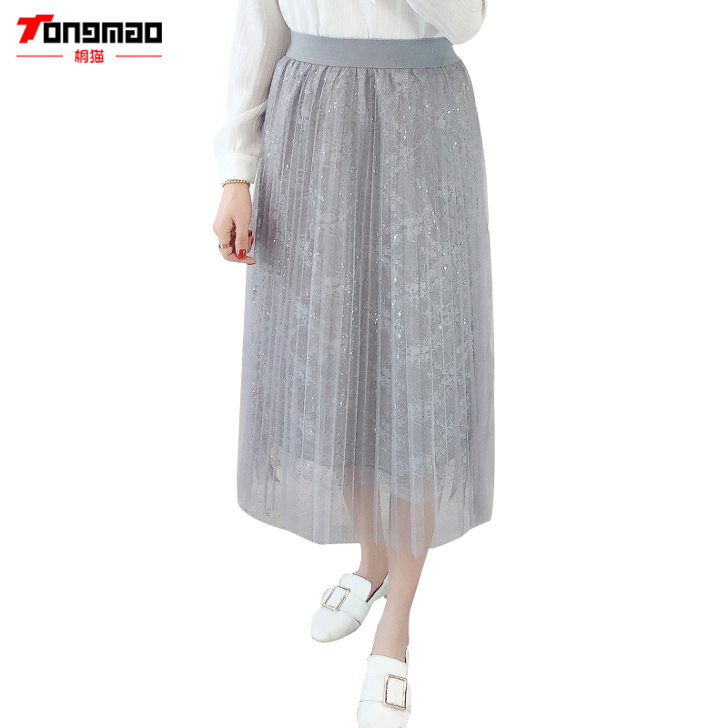 TONGMAO Casual Womens lace hook flower mesh pleated skirt 2018 spring and summer new womens long skirt A word skirt