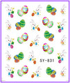 1X  Nail Sticker Decals  Cute Easter Egg Rabbit Hare  Water Transfers Stickers Opp Sleeve Packing SY831-836