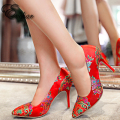 NEw Chinese style Pointed Toe Red supe High Heels wedding dress shoes embroider Women Shoes Pumps Chaussure   size 34-39