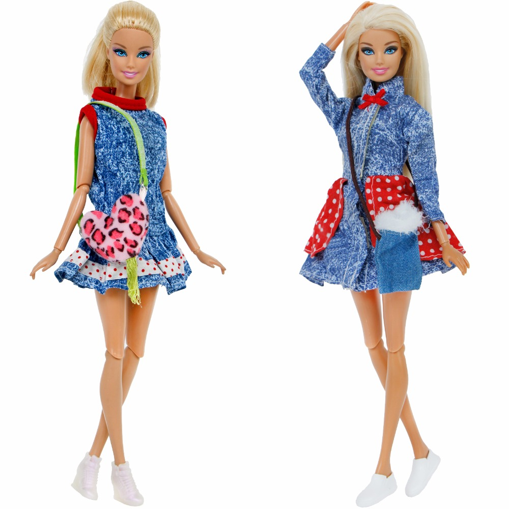 3 Pcs/Lot =1x Handmade Denim Skirt Dress + 1x Fashion Handbag + 1x High Quality Shoes Clothes For Barbie Doll Accessories Gift c16114 1x