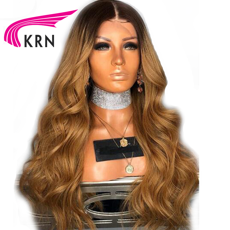 KRN Ombre Color Lace Front Human Hair Wigs With Baby Hair Wavy Remy Pre Plucked Brazilian