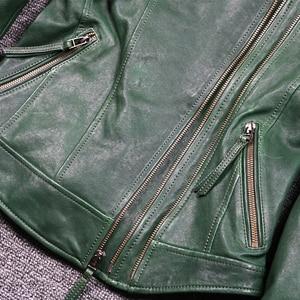 Image 5 - Womens slim fit fashionable genuine leather jacket green stand collar short moto biker leather jacket women sheepskin coat