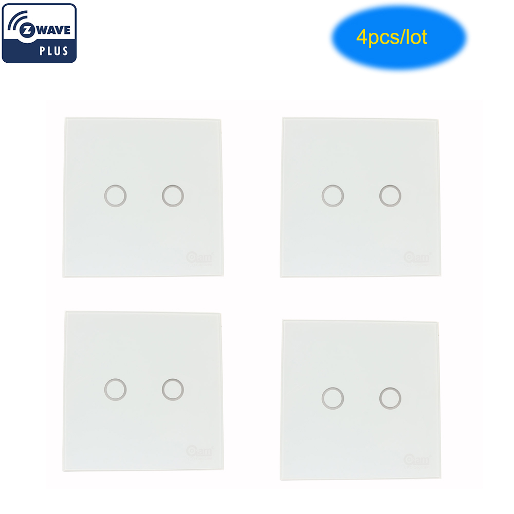 COOLCAM 4pcs/lot Z-wave Plus Wall Light Switch 2CH Gang Home Automation Z Wave Wireless Smart Remote Control Light Switch