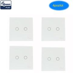 COOLCAM 4pcs/lot Z-wave Plus Wall Light Switch 2CH Gang Home Automation Z Wave Wireless Smart Remote Control Light Switch