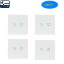 Coolcam interruptor de parede, 4 pçs/lote z wave plus 2ch gang automação z sem fio controle remoto inteligente interruptor de luz