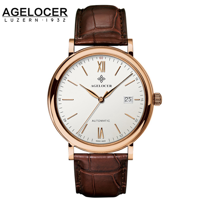 Agelocer Swiss Top Brand Luxury Wrist Watch For Men Gentlemen Russian Vintage Brown Genuine Leather Rose
