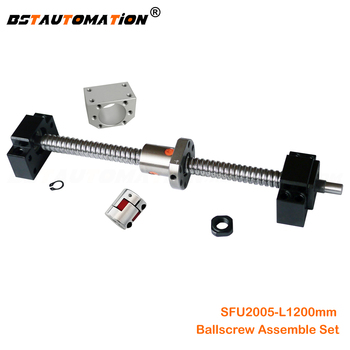 SFU2005 ball screw 1200mm with end machined + SFU2005 ball nut bracket + BK15 BF15 end support + 8mm Motor shaft Jaw coupler
