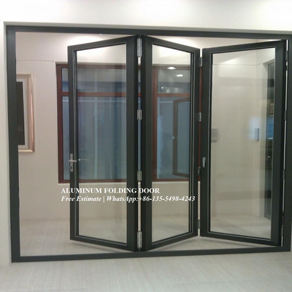 Porte bi-pliante en aluminium à réduction sonore, entrée personnalisée en accordéon extérieur, portes en verre