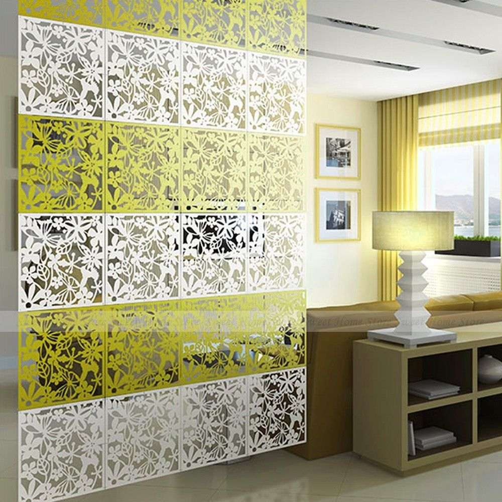 diy wall partition promotionshop for promotional diy wall  - yazi pcs butterfly flower bird diy hanging screen panel room dividerpartition wall sticker yellow xcm