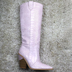 Image 2 - 7 colors 2020 New Brand women boots pointed toe thick high heels knee high boots autumn winter shoes slip on sexy ladies shoes