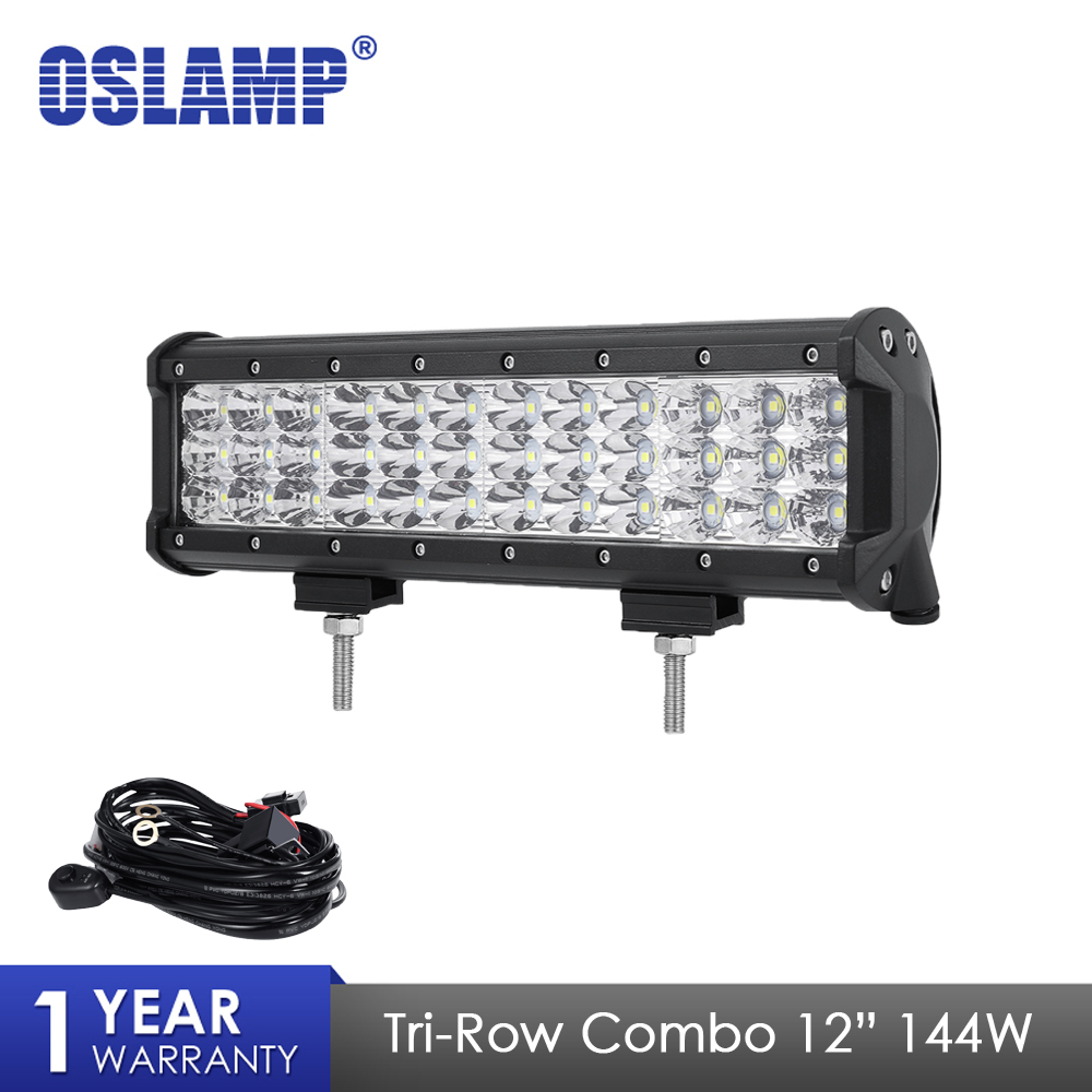 Oslamp 12 144W Work Light Tri-Row LED Light Bar Combo Beam Led Bar For 4x4 Truck ATV Trailer Car Offroad Driving Light 12V 24VOslamp 12 144W Work Light Tri-Row LED Light Bar Combo Beam Led Bar For 4x4 Truck ATV Trailer Car Offroad Driving Light 12V 24V