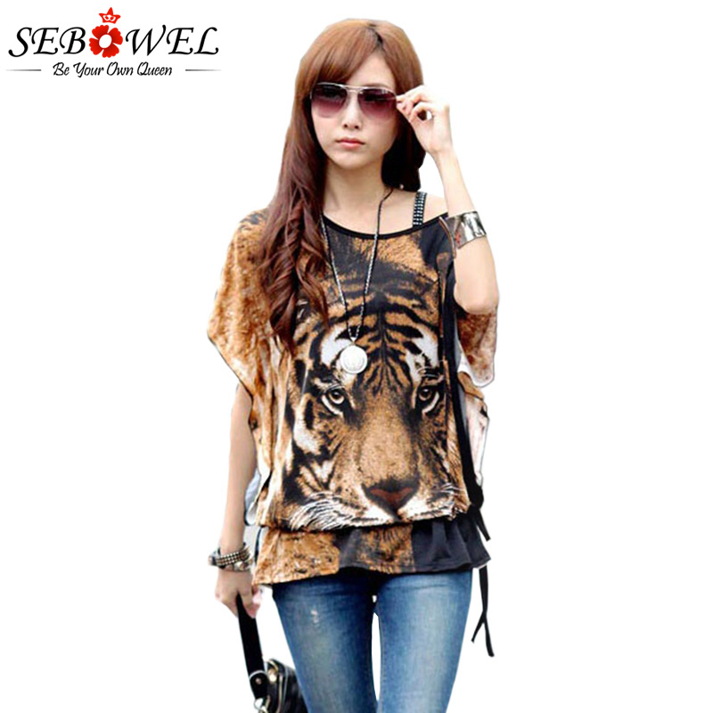 SEBOWEL Summer Women Off Shoulder Top Tiger Print Batwing Sleeve Blouse Onesize kimono women korean shirts streetwear bohemian