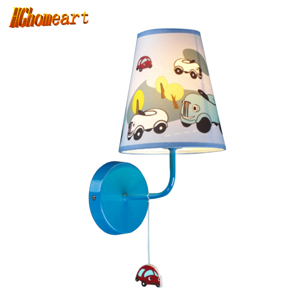 Hghomeart Creative Modern Minimalist Wall Lamp Blue Cartoon Car Boys and Girls Room Kid's Bedroom Wall Lamp Sconce