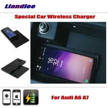 Liandlee For Audi A6 (C7/4G) A7 (4G8) Special hidden Car Wireless Charger Storage IPhone Android Iphone Battery