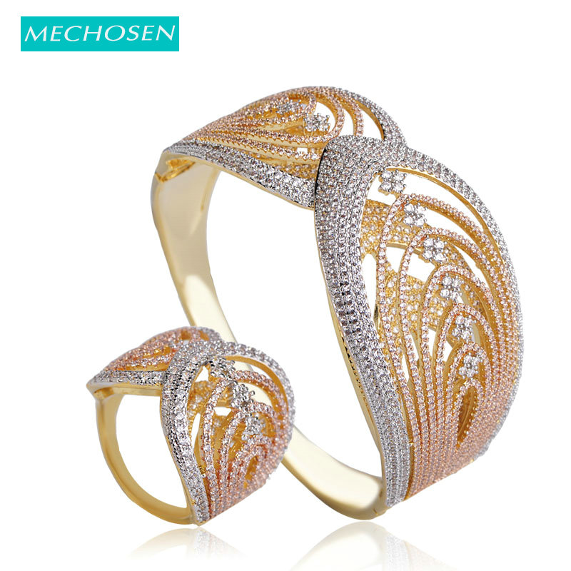 MECHOSEN European Style Women Wide Bangle Ring Sets 3 Tones Color Cubic Zirconia Pulseira Anillos Feminino Hand Jewelry Sets