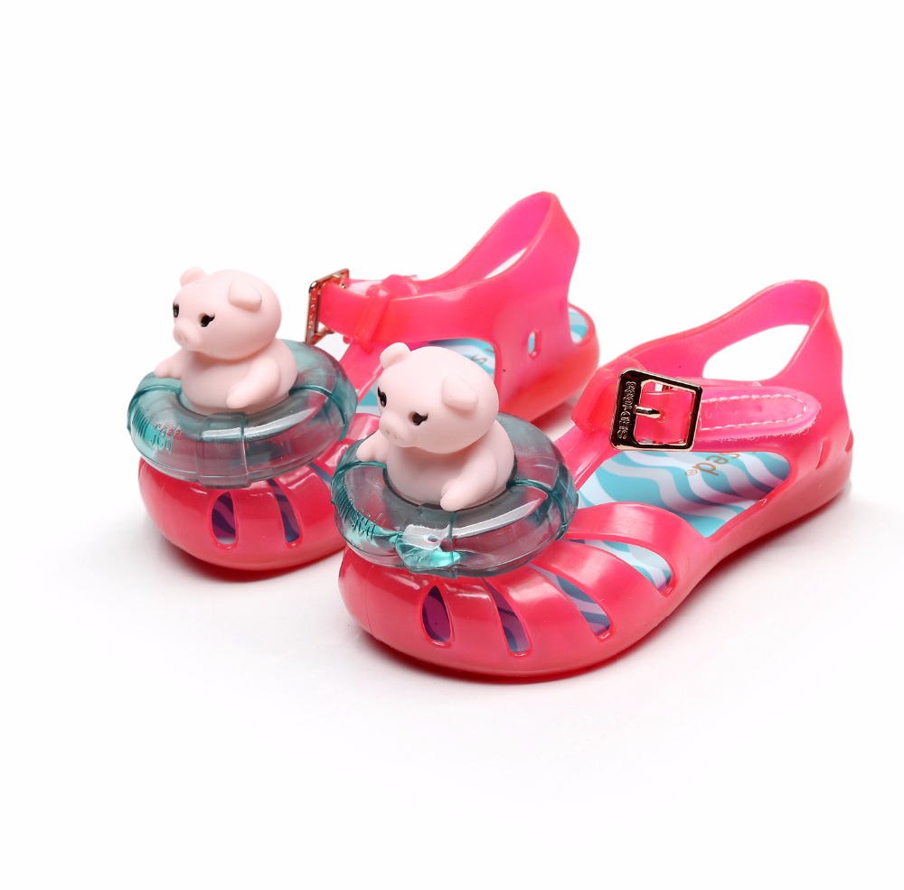 Mini Melissa Girls Sandals Anti-slip Jelly Shoes With Animal  Pattern Closure Soft Beach Sandals Shoes