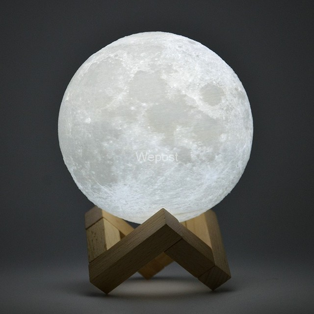 6 Dimensions 8-20 cm Rechargeable touch 3D drawing (3D print) of the moonlight Adjustable brightness white warm white moon night light Bedroom usb light