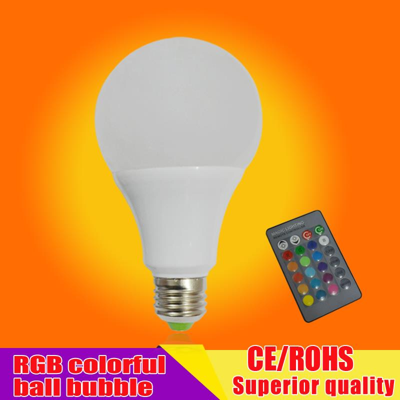 NEW E27 RGB LED Lamp 3W 5W 7W LED RGB Bulb Light Lamp 110V 220V Remote Control 16 Color Change Lampada LED Luz A65 A70 A80