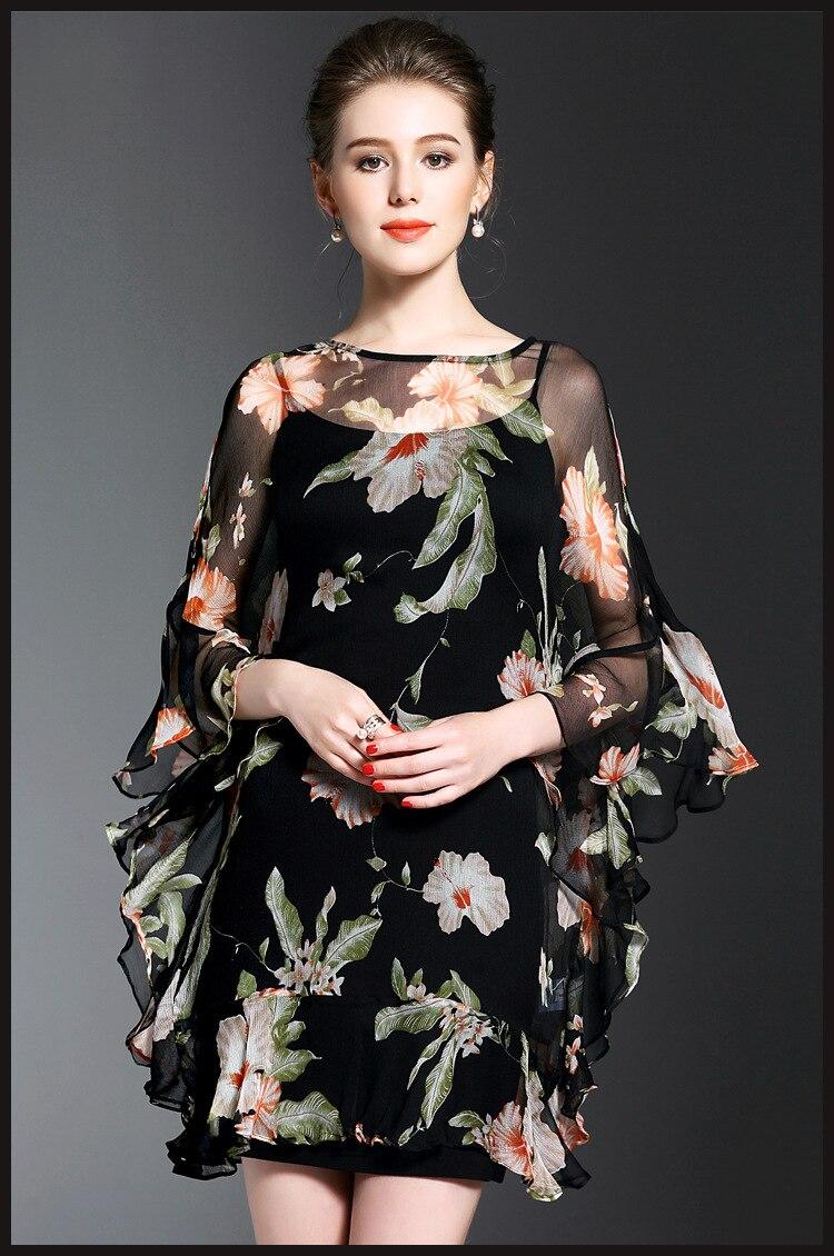 Летнее платье 2019 женское платье европейский дизайн очаровательный круглый вырез с длинным рукавом натуральный шелк печать платья шелковая