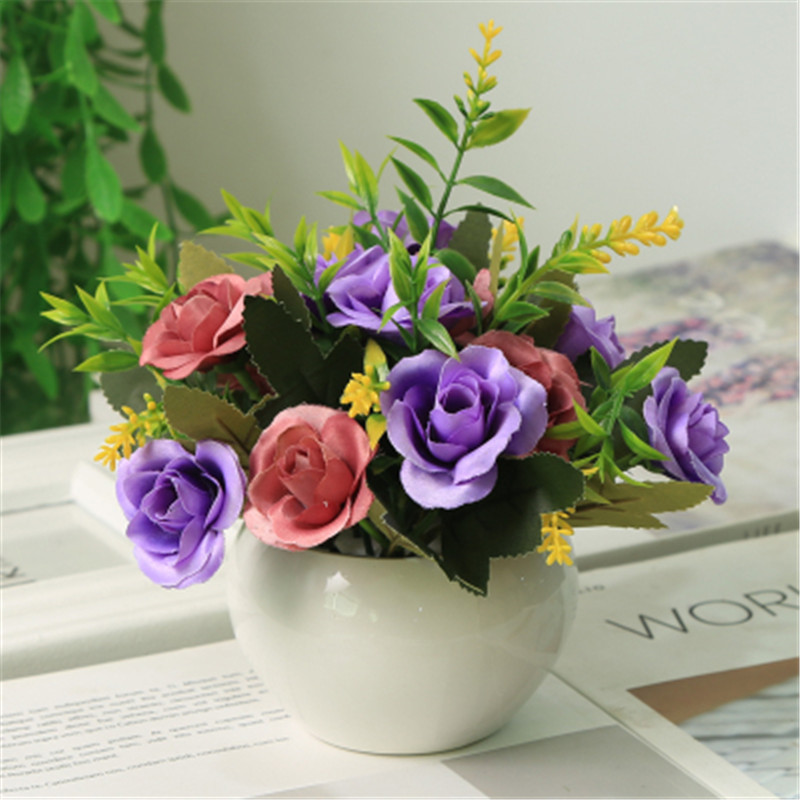 Mini Pot Artificial Flower Romantic Rose Mix Color Bouquet Silk Flower For DIY Home Party Decor with Green leaf Natural Lifelike